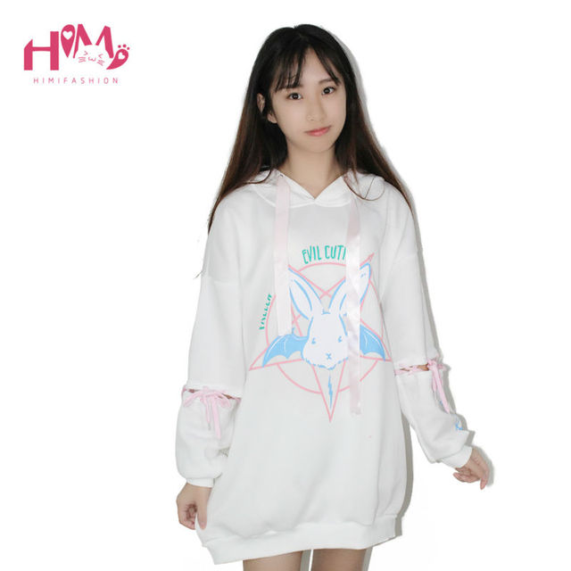 487db09096e New Korea Fashion Cartoon Rabbit Print Long Hooded Fleece Sweatshirt Womens  Winter Print Hoodies Patchwork Casual