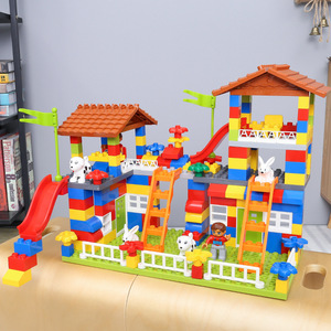 Image 3 - DIY Colorful City House Roof Big Particle Castle Building Blocks Compatible Duploe Creative Bricks Toys For Children Kids Gifts