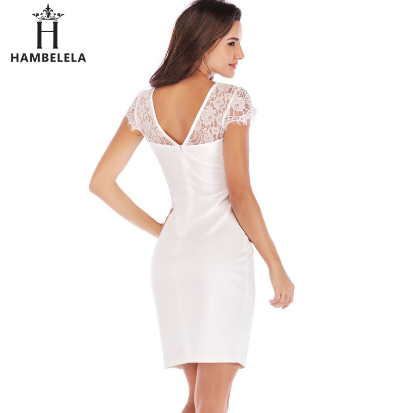 Hambelela Office Lady Vintage Lace Dress Women 2019 Retro Tunic Slim Work Business Casual Dress Sexy Party Bodycon Pencil Dress