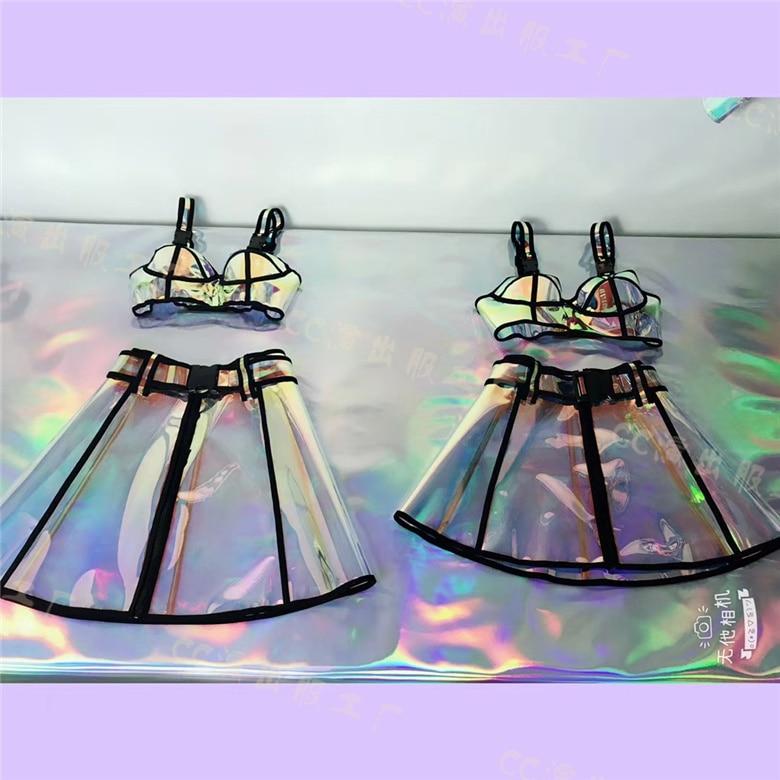 Spectacle Discothèque Harajukku Costumes Musique De Laser Jupe Party Short Skirt Skirt Avec Sexy Commencer Femmes Set Soutien Hologramme gorge Transparent Festival Auto longer aqv4nTw