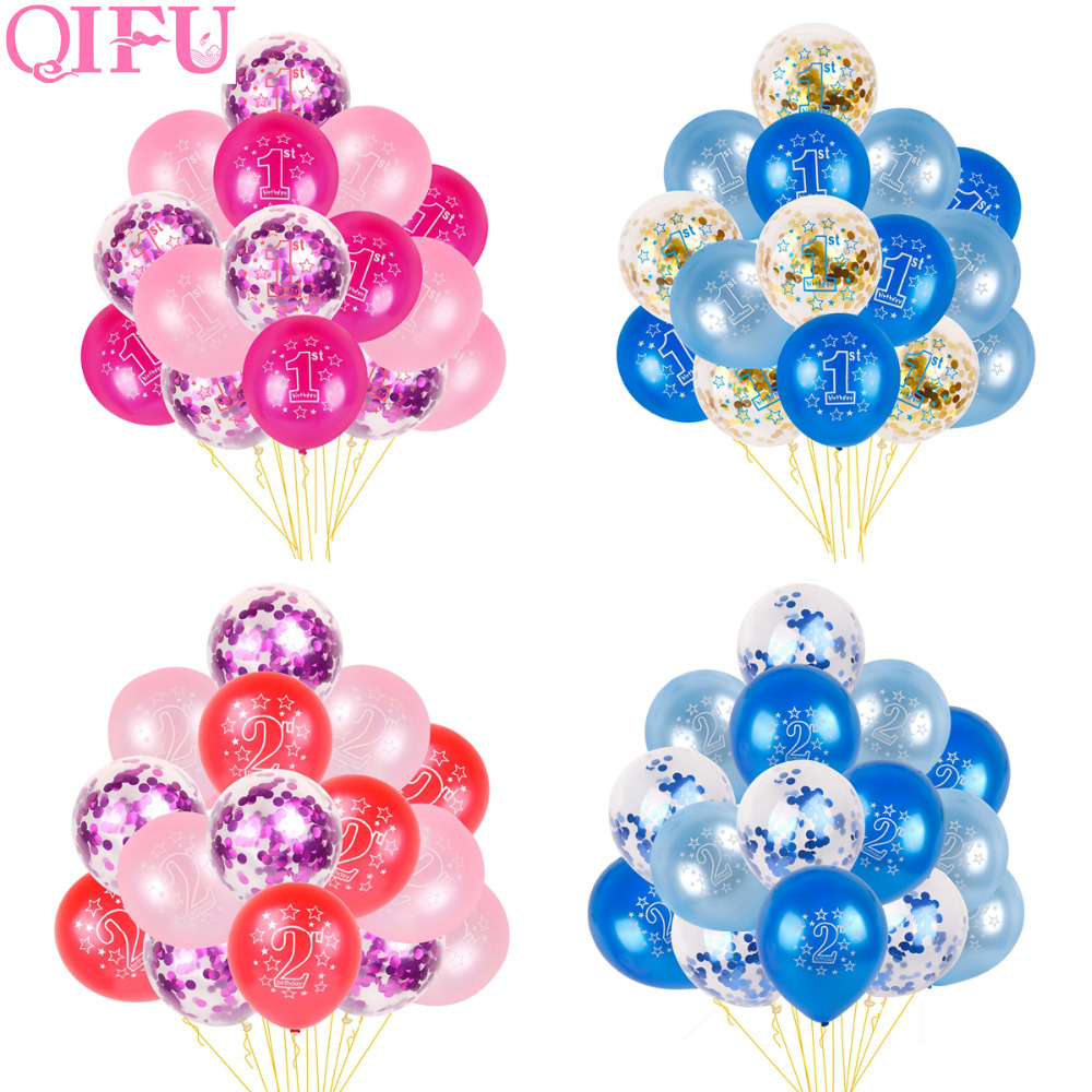 QIFU 15pcs 1st 2nd Birthday Balloon Air One 1 2 Year Old First Party Decorations Kids Latex Babyshower Boy Girl