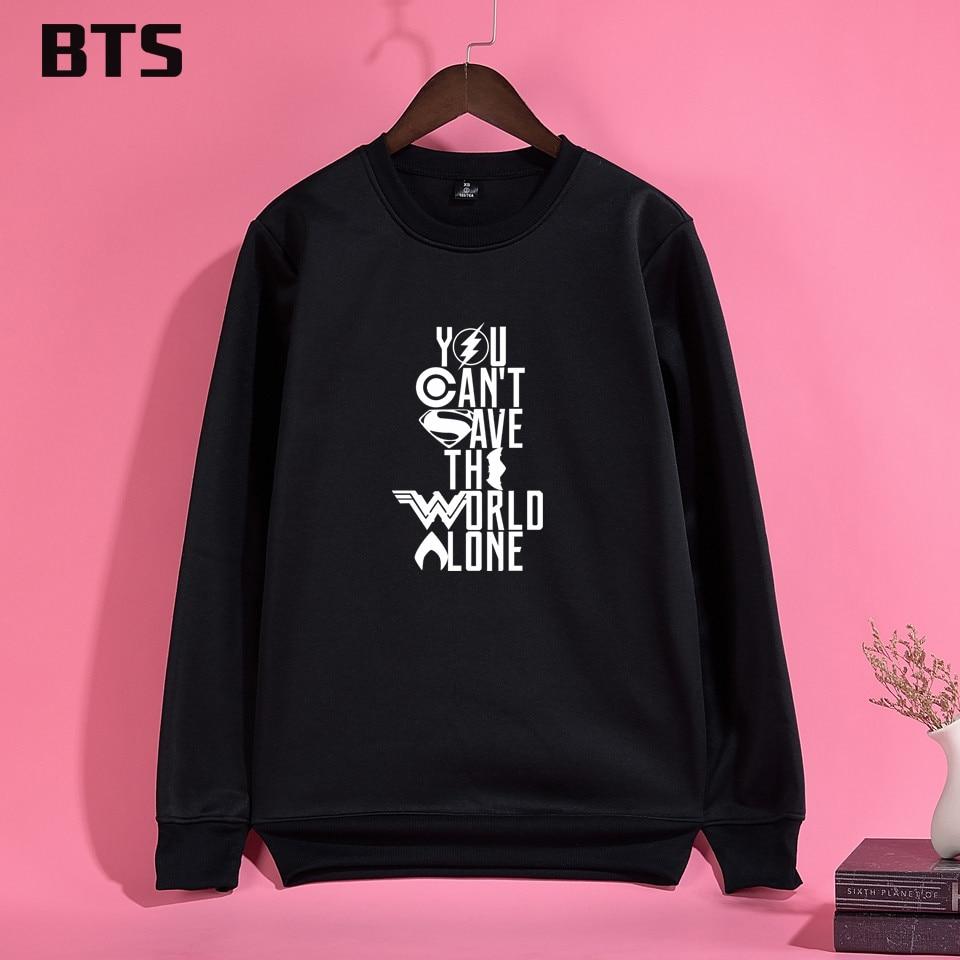 BTS Justice League Oversized Hoodie Print Anime Creative Hot Sale Casual Harajuku Hipster Brand Women Hoodies Sweatshirts Winter