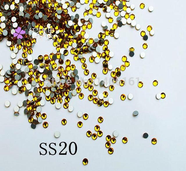 Qualidade AAA Cor 1440 pcs Não Hotfix Strass Cristal SS20 Topaz Ouro 4.6-4.8mm Cola no Prego flatback Art Pedrinhas