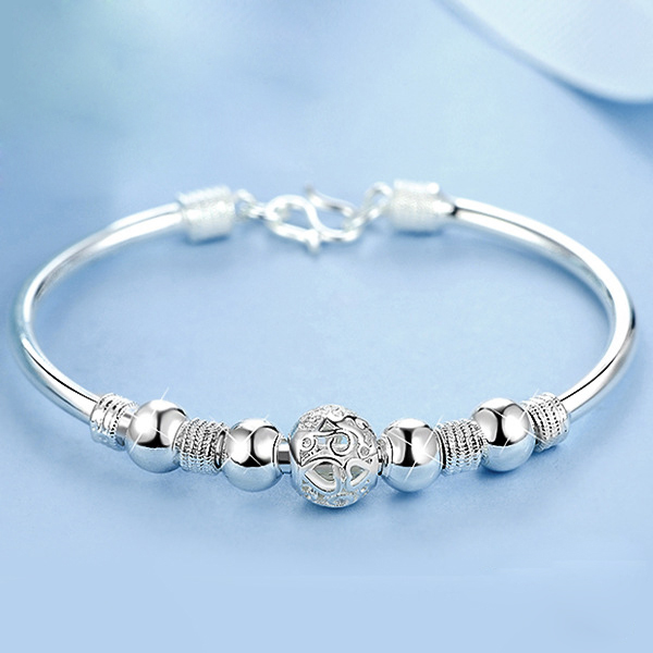 3 Style New 925 sterling silver Lucky Charm Bracelet Cuff Bracelets For Women Bangles Fashion Jewelry Pulseira(China)