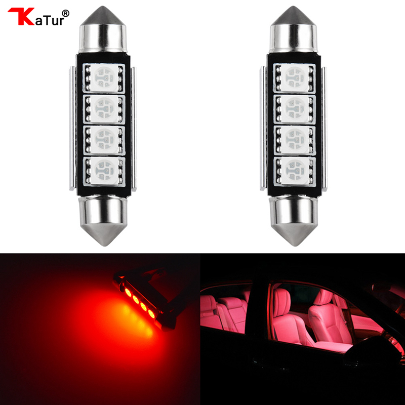 Katur 2Pcs Canbus C5W LED 5050 SMD Festoon 41mm 42mm Dome Reading Light Bulb Car Interior Lighting 12V Red 6000K White