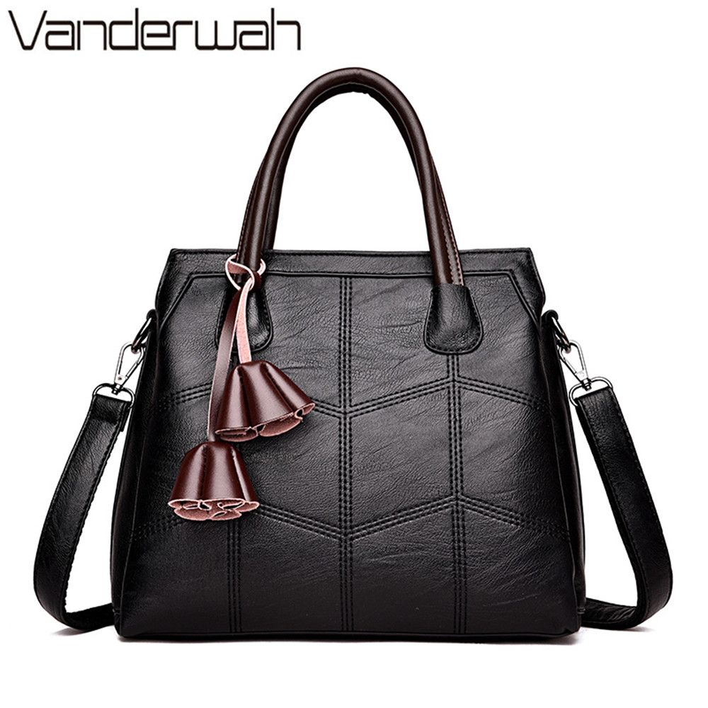 VANDERWAH Fashion Flower women bag Leather luxury handbags women bags designer tote female high quality shoulder Crossbody bag vanderwah crocodile pattern leather luxury handbags women bags designer women shoulder bag female crossbody messenger bag sac