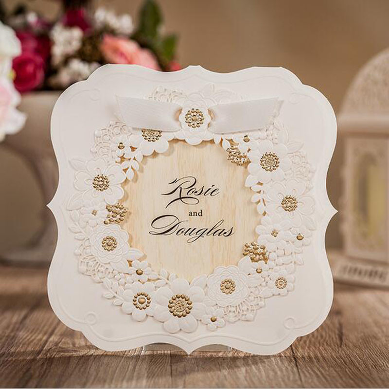 Wholesale 50pcs Hollow Laser Cut Wedding Invitations Card Personalized Custom Printable with Ribbon & Envelope & Inner Card 1 design laser cut white elegant pattern west cowboy style vintage wedding invitations card kit blank paper printing invitation