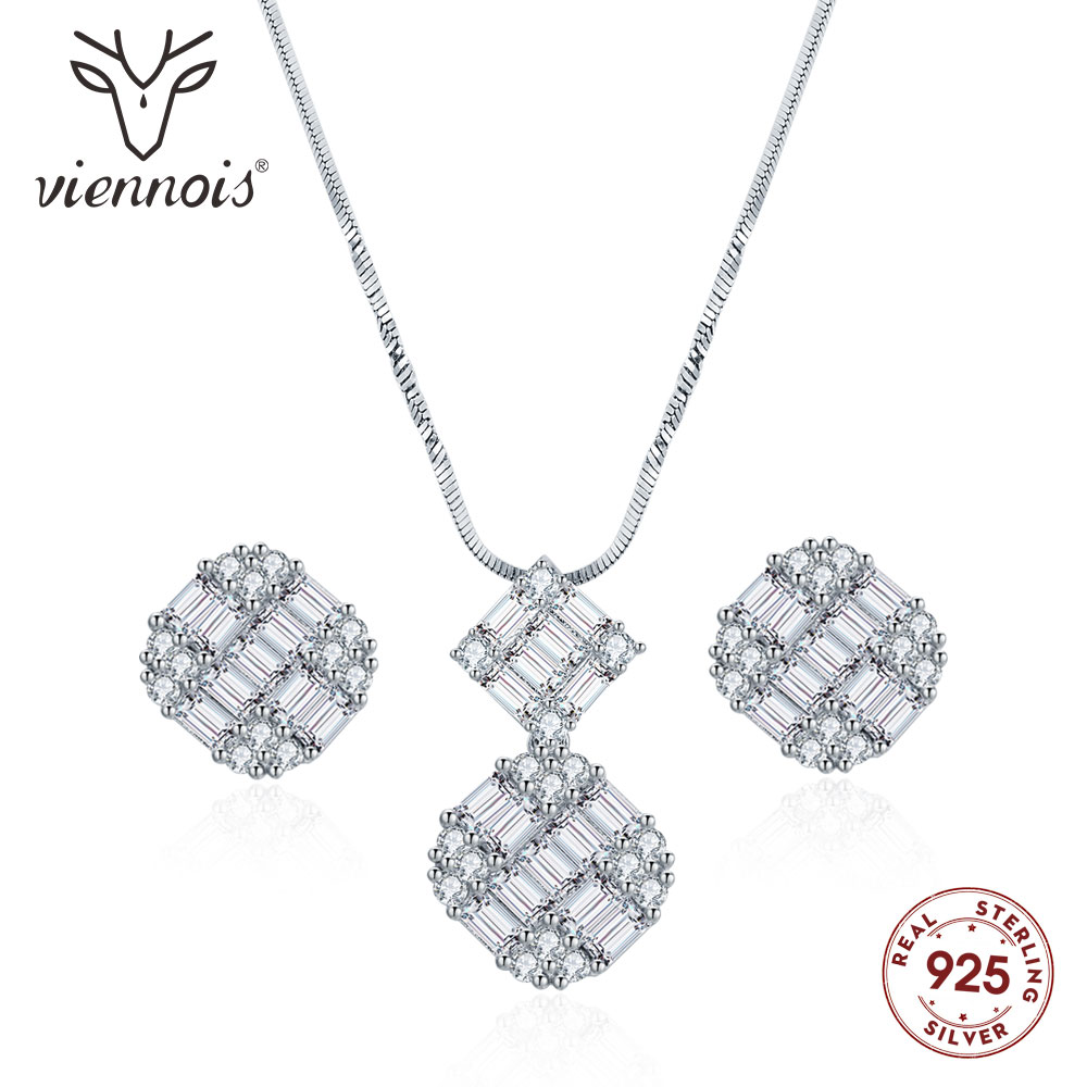 Presale Viennois 925 Silver Pendent Necklace Set For Women Rhinestone Stud Earrings Necklace Set Party Jewelry Set 2019Presale Viennois 925 Silver Pendent Necklace Set For Women Rhinestone Stud Earrings Necklace Set Party Jewelry Set 2019