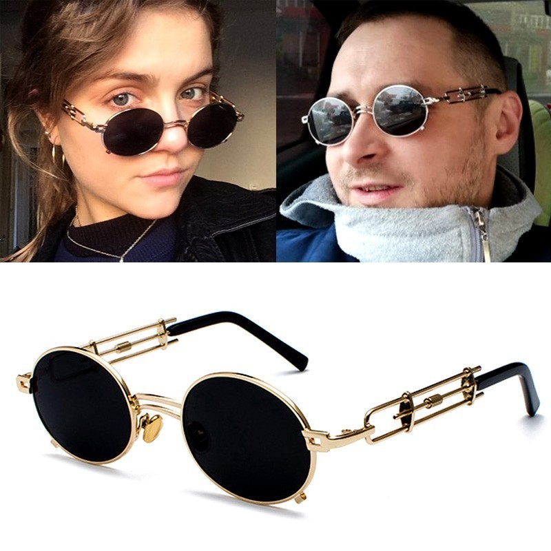 Retro Steampunk Sunglasses Men Round Vintage Gothic Metal Frame Gold Black Oval Steam Punk Sun Glasses For Women Red Male Gift