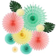 Rose Pink Mint Green Cream Paper Fan Decoration Set Tropical Leaves Artificial Palm Leaf Kids Birthday Shower Wedding Party