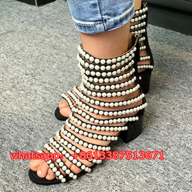Fashion Runway Shoes Pearl Strappy Gladiator Women Sandals Booties Open Toe Back Zip Black Suede Low Heel Summer Shoes Woman new fashion woman flats spring summer women shoes top quality strappy women sandals suede pointed toe gladiator ballet pumps