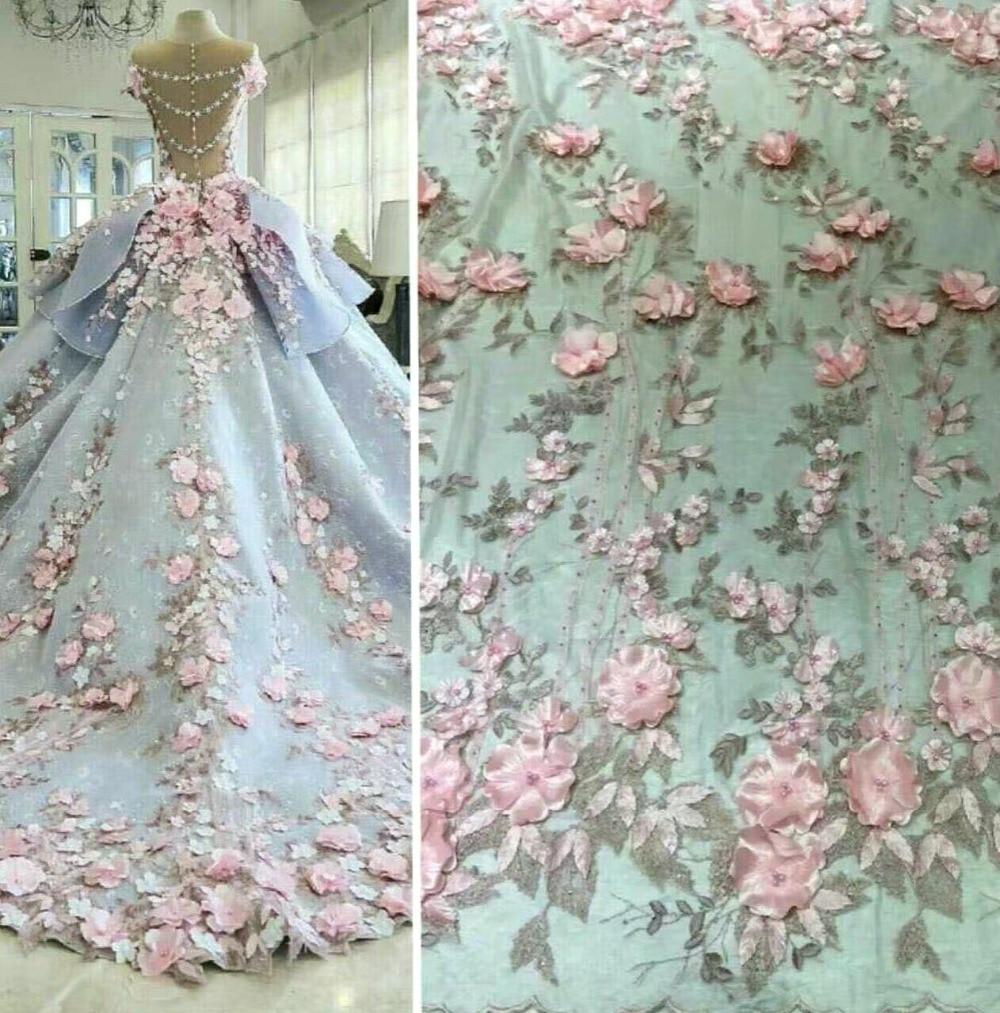 Applique de tissu de dentelle perlée française 3D Florals rose fait main haut de gamme pour robe de mariée