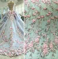 Top end Luxurious Pink Handmade 3D Florals French Beaded Lace Fabric Applique For Bridal Dress
