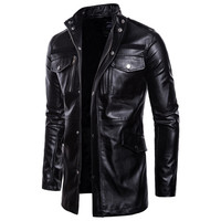 Autumn and winter men's leather jacket motorcycle long black windbreaker windproof PU leather jacket Stand collar coat