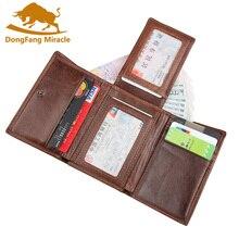 Повседневные кошельки из натуральной кожи, винтажные, три сложения, Воловья кожа, короткие, двойные, мужские кошельки, кошелек, держатель для карт, RFID кошельки