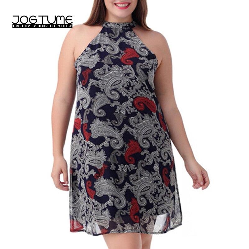 Jogtume Oversized Women Chiffon Dress Sale Sleeveless Summer Print