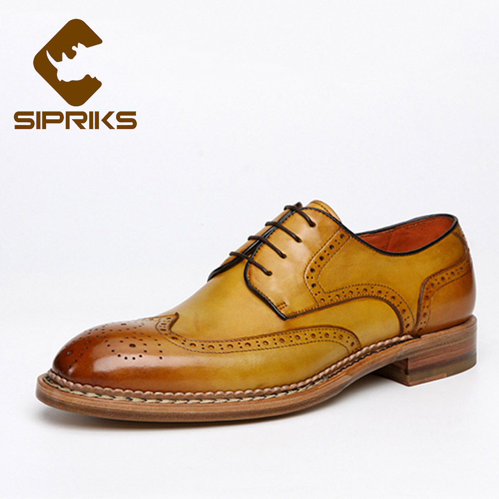 Sipriks Luxury Mens Brogue Shoes Classic Wingtip Dress Shoes Vintage Norway Seam Shoes Business Formal Men Goodyear Welted Shoes платье seam seam mp002xw18uic
