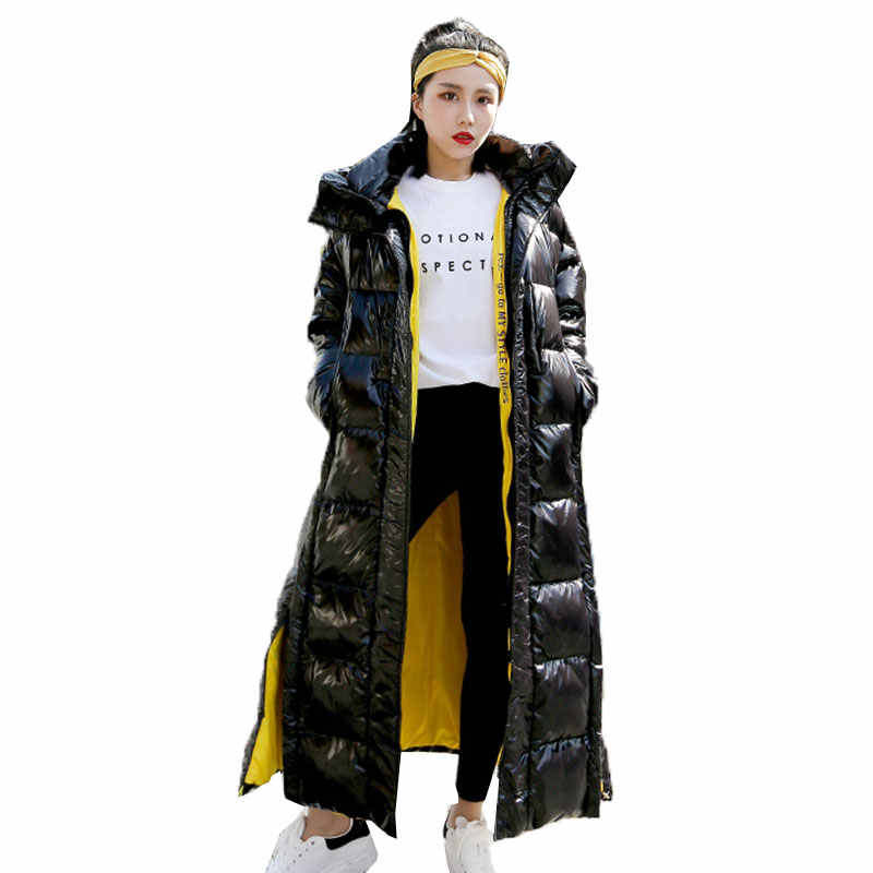 New Winter Parka Coat Female Plus size Fashion over the knee cotton Down Jacket X-Long Hoodie Thick loose Coat Women Clothing 87