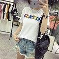Venda quente Das Senhoras do Verão Letras Coloridas Impresso Padrão 3D T-shirt de Manga Curta Soltas Casual T-shirt para As Mulheres Tops Bonito 2XL