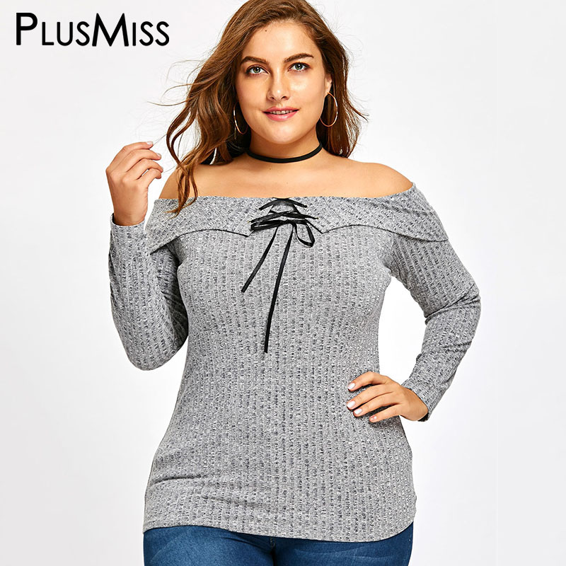 PlusMiss Plus Size 5XL Sexy Knitted Off The Shoulder Tops for Women Clothing Large Size T Shirt Lace Up T-shirt Gray Grey Tees