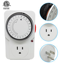 Save Time 24 Hours Programmable Mechanical Mini Timer Switch 15A 125V ETL Energy Saver US Plug