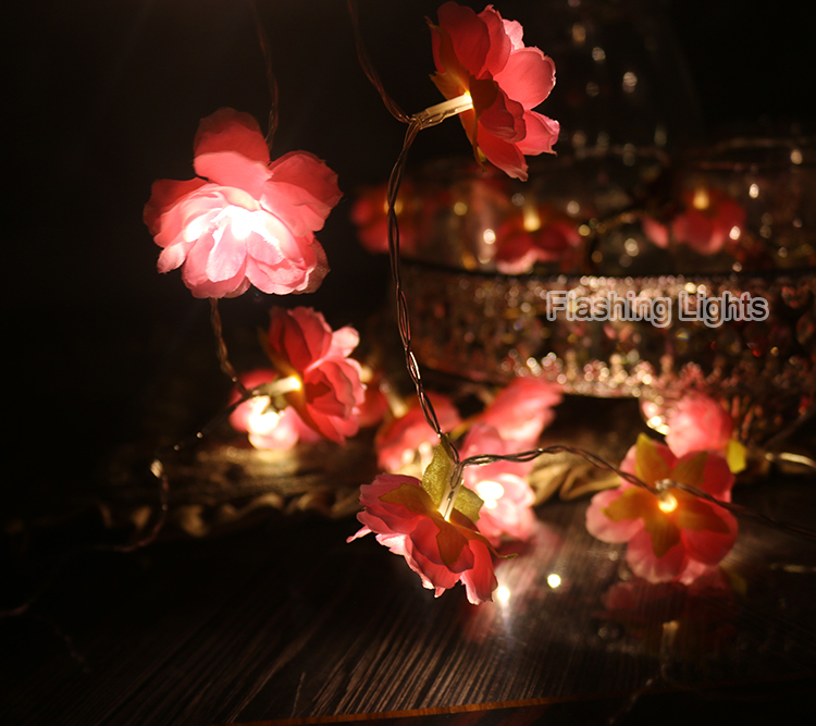 Novelty 2M / 3M hiasan buatan tangan Bunga Fairy String floral Lights - Pencahayaan perayaan - Foto 4
