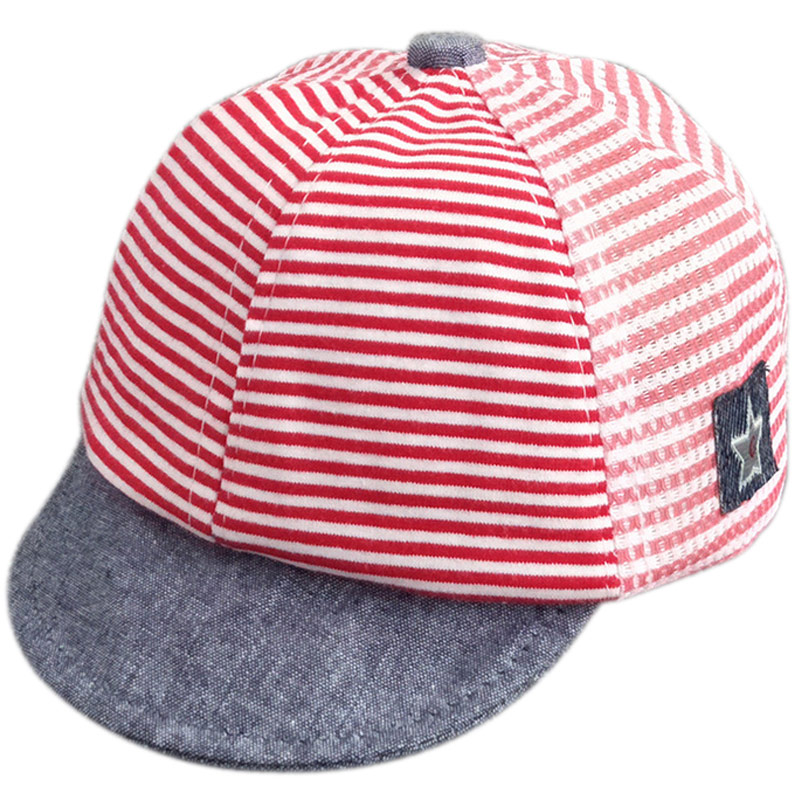 Fashion Spring Summer Baby Peaked Cap Cotton Gauze Horizontal Stripe  Sunscreen Casual Hat For 3-6 Month Child Infant -MX b0395139fd5