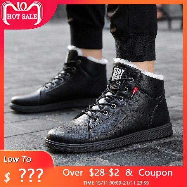 Thời trang mùa đông giày người đàn ông giày ấm fur tuyết boots pu da mùa đông làm việc giày nam mắt cá chân mùa đông giày dép cho nam giới khởi động 2018