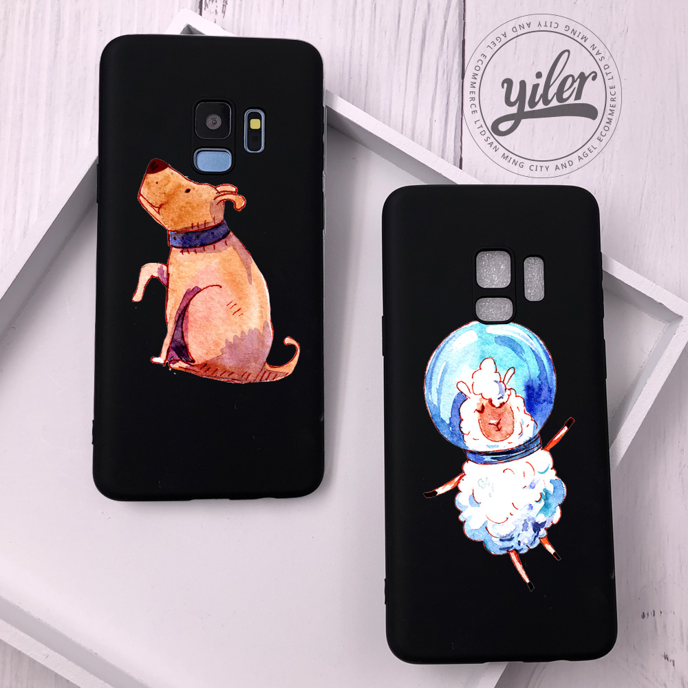 Space Dog for Funda Samsung Galaxy S10e Case Cover Shell for Galaxy S10 Plus Case S7 edge S8 Plus Case for Galaxy Note 8 9 S9 in Fitted Cases from Cellphones Telecommunications