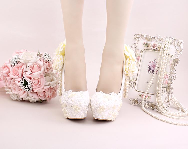 8_Women Dress Shoes For Wedding White Pearl Lace Flowers Bridal High Heel Platform Pumps 10cm 12cm 14cm Stilettos Footwear Online