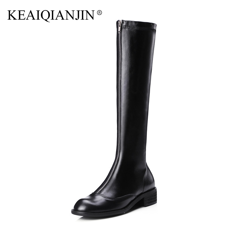 KEAIQIANJIN Woman Over The Knee Boots Zipper Black Fashion Autumn Winter Shoes High Heel Boots Genuine Leather Knee High Boots