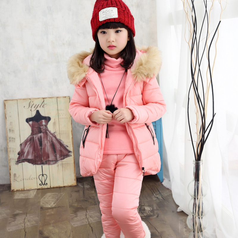Baby Girl Clothing Sets For Teenage Vest + Top+Pant 3 Colors Winter Wear Cute Solid Sets Hooded Vest Long Sleeve Kids Clothes baby boys clothes toddler kid long sleeve dinosaur hooded sweatshirt top long pant sportswear outfit 2pcs kids clothing sets