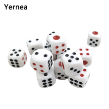 Yernea 30Pcs/Lot White Dice Set Acrylic Point Drinking 16mm Round Corner Hexahedron Black Red Club Table Games