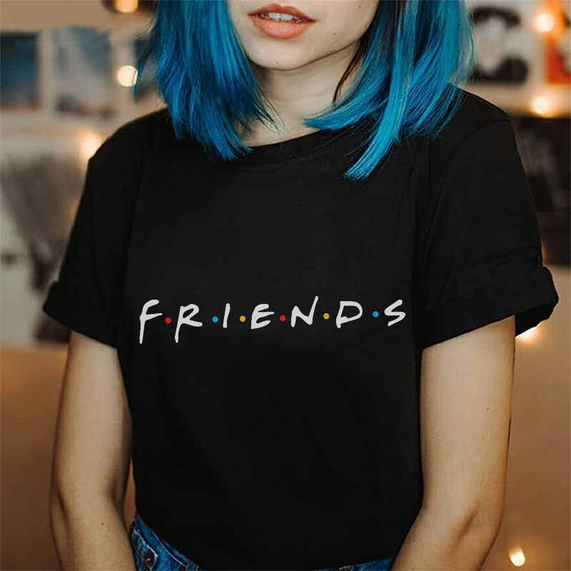 Friends Tshirt Women Summer 2019 Fashion Best Friends Tv Tee Shirt Femme Plus Size Black Tops Casual Funny Friends Vogue T-shirt