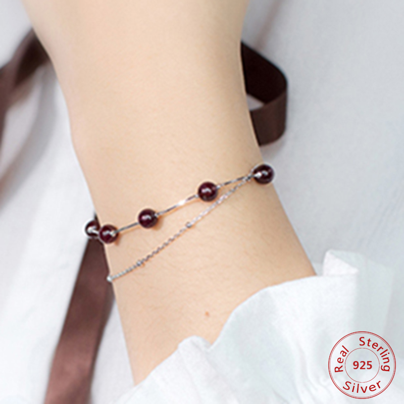 5mm Real 925 Sterling Silver Fine Jewelry Double Layers /tworows Red Garnet Round Stone Chain Bracelet Woman