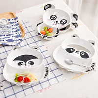 New cartoon ceramic plate children's tableware creative sub grid dish soup home cute fruit plate set children's tableware