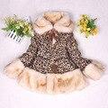 Возраст 3-8 НОВЫЙ 2014 Зимние Девушки Леопарда пальто высокого качества с длинным рукавом из искусственного меха пальто и куртки для детей девочек верхняя одежда