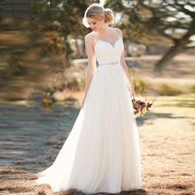 Eightree Beach Wedding Dress Illusion Neckline Gown Scoop A-Line Appliques Tulle Princess Bridal vestido novia