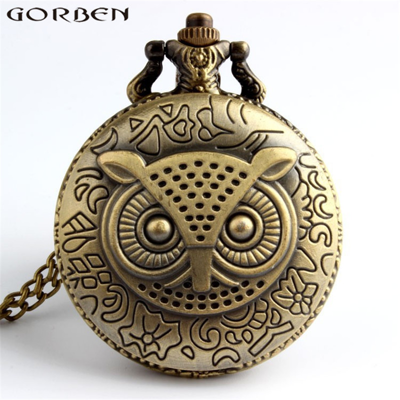 Bronze Classic Owl Pocket Watch Brass Men Watches Antique Style With Good Quality New Unique Pendant For Men Or Women Watches