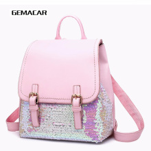 2019 New Girl Fashion Backpack Sequin Youth Female Casual Waterproof Package Student Cute Small