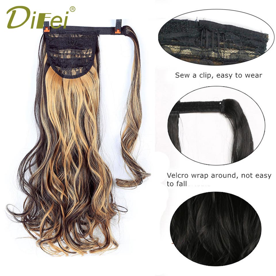 DIFEI 22 Silky Straight 6 Colors Synthetic Hair Ribbon Drawstring Ponytail Pieces Extension