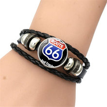 Handmade beaded Bracelet New 2018 Simple Fashion Men Us Route 66 Bracelet Beaded Leather Jewelry Accessories(China)