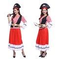 Бесплатная доставка Хэллоуин сценический костюм костюмы для взрослых женщин Довольно Леди Pirate Captain Костюм пирата ролевая