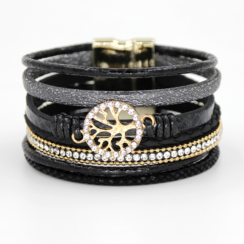 VONNOR Jewelry Bracelets for Women Multi-layer Leather Rope Rhinestone Alloy Accessories Magnet Clasp Bangle Bracelete Feminino 3