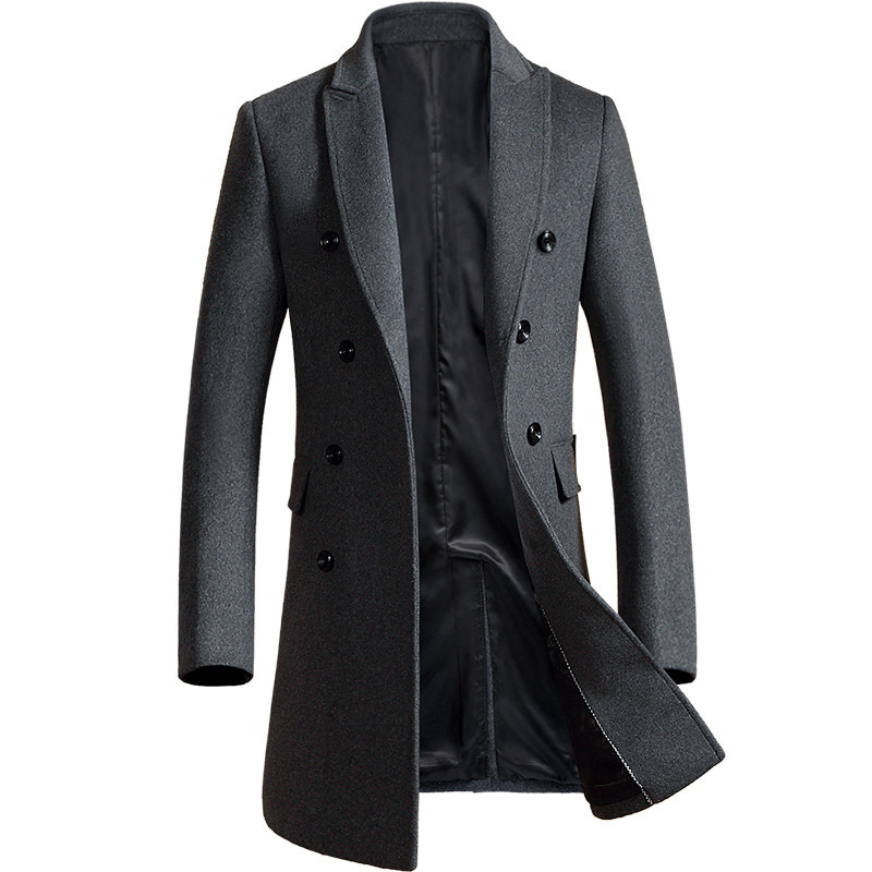 Autumn And Winter New Men's Woolen Coat Slim Double-breasted Long Windbreaker Thick Woolen Coat Men's Clothing