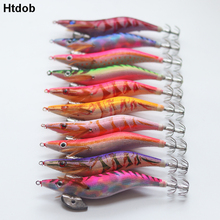 цены Htdob 10pcs/Set Wood Shrimp Squid Fishing Bait 2.0# 2.5#-3.0#Hook Wooden Shrimp Squid Jigs Sea Fishing Lures Artificial Lure