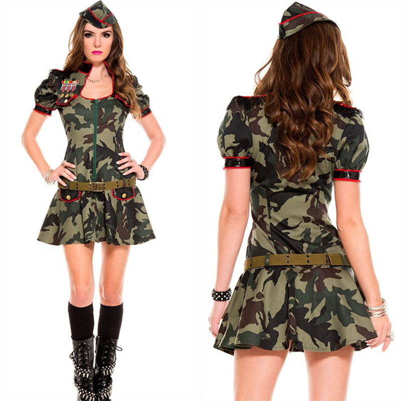 aecc7dbdf49 US $19.42 25% OFF Sexy Adult Women Army Uniform Costume Halloween Sexy  Party Costumes Women Soldier Camouflage Dress-in Sexy Costumes from Novelty  & ...