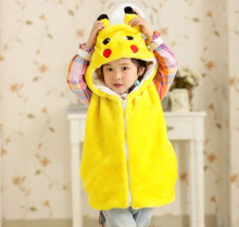 Fashion flannel boys sleeveless hoodie faux fur hood ears cute cardigan yellow coat faux fur vest kids