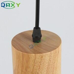 Image 5 - Lampe Led suspendue en bois au design créatif simpliste, disponible en noir et en blanc, Luminaire dintérieur dintérieur, idéal pour une cuisine, un Bar, un hôtel ou une chambre à coucher, E27, D7567