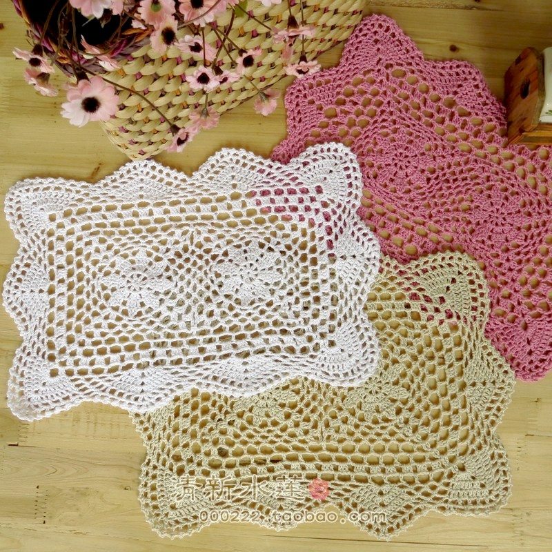 Free shipping 2014 fashion cotton crochet lace table mat - Set de table crochet ...